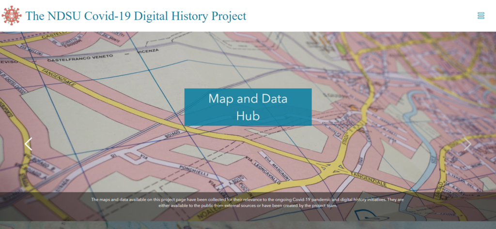 Image of the NDSU Covid-19 Digital History Project Map and Data Hub